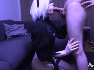 Wonderful Pussy Photos And Video 2B Sucks cock and plays with cum Nier: Automata 2B cosplay