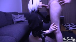 2B Sucks cock and plays with cum (Nier: Automata 2B cosplay)