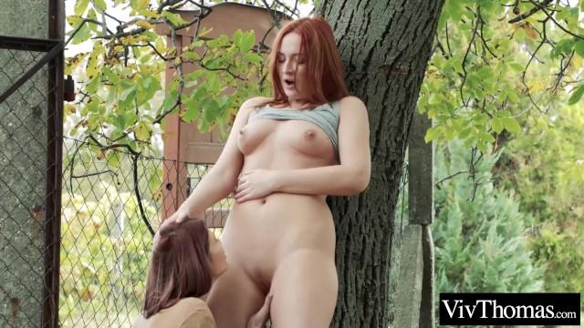 Lesbian redhead fingers a stranger