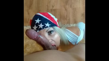 Blonde gf surprises with blowjob for Independence Day