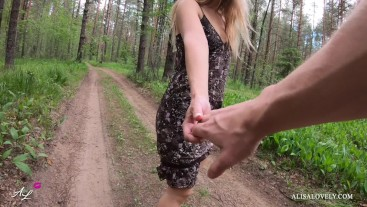 Babe Shows her Ass on a Walk, Jerks off her Pussy and Fucks in the Car POV