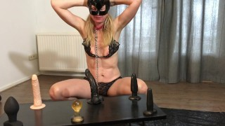 BDSM Slave - Anal Dildo Ride Game: Amateur Milf Painslut Anally Destroyed