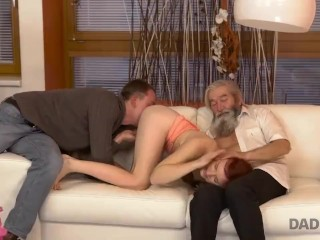 DADDY4K.Grey-haired daddy owns vagina of son's petite girlfriend