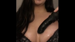Slut Gives Sloppy Blowjob with Big Tits Out