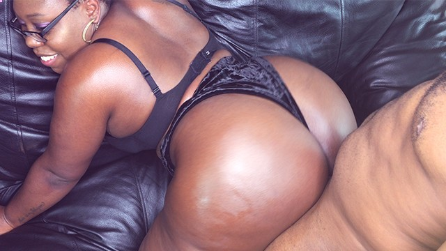 Ebony BBW With Glasses Sucking  Cock And Bouncing That Ass on The 4th