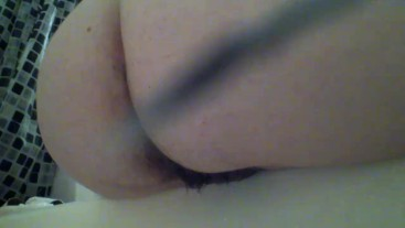 A Good Piss in the Tub - Hairy MILF Ass Play