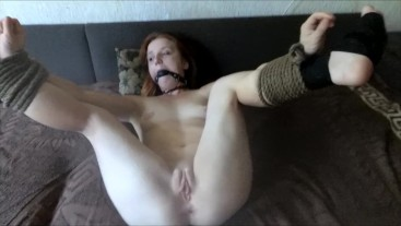 Young girl tied to bed and get hard fuck POV