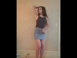 Dance Strip Grande video: Dance & strip out of bluejeans skirt to Ariana Grande  -Breathin\'