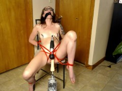 Little Rose tied up and tormented with sex machine and wand past squirting
