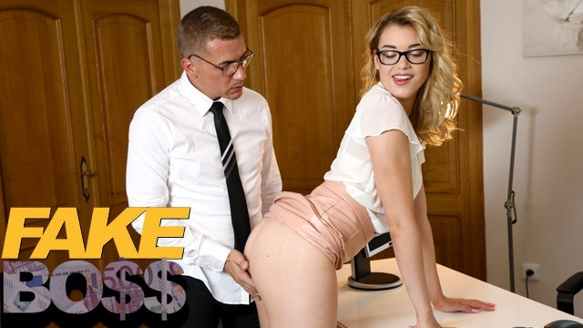 FAKEhub Hot office girl Anny Aurora spanked and fucked calling him Daddy