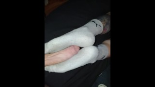 Huge-cumshot-on-wifes-sexy-smelly-after-work-gray-puma-socks