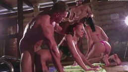 We met in a sauna with two young beauties and fucked them hard
