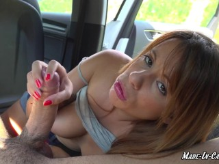 Outside cock licking within the automobile – Beginner couple MadeInCanarias