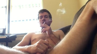 Young Male Jerk Off and Smoke