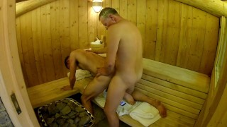 British Daddy Boy Homemade Amateur Sauna Fuck Bareback