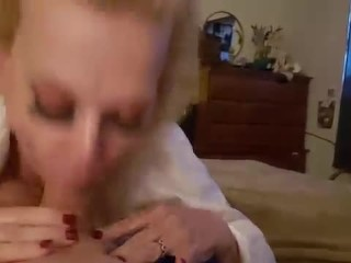 BLONDE MILF MOM POPS VEIN GIVING STEP SON BLOWJOB FETISH