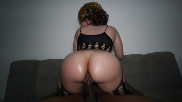 Sexy thick redbone rides BBC in sexy outfit & gets pussy filled!