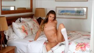Pretty Naomi Swann moves so kinky stripteasing in her bedroom