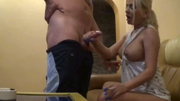 Sexy Neighbor have first Anal sex after smoking blowjob, Cum mouth