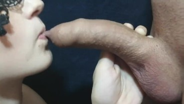 Close up foreskin play. Big cock blowjob and throbbing oral creampie