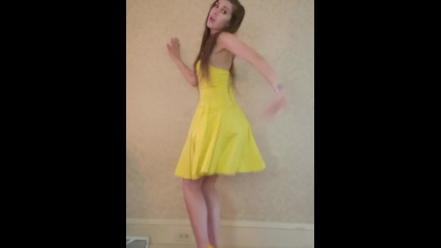 Spanish football strip yellow blue Dance strip from yellow dress and heels to bad idea by ariana grande