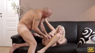 DADDY4K. Sensitive massage turns BFs dad on and he fucks blonde