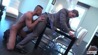 The slick suited Carter gets fucked over a breakfast table