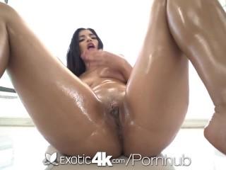 EXOTIC4K Busty Shaved Pussy Latina Fucks Thick Big Dick
