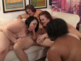 Four BBW with huge boobs share one big white cock