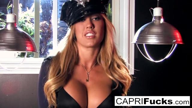 Sexy Cop Capri finds a big gun in bad guy's pants