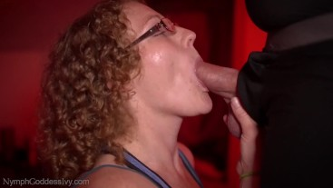 MILF Redhead Ivy gives hubby a fun slurping kneeling blowjob