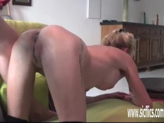 Huge double dildo fucked and fisted amateur
