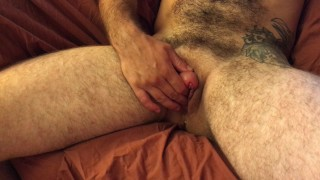 FTM Transguy Strokes his Huge Pumped Cock and Cums while Fucking Himself