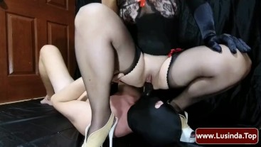Femdom Mistress Lusinda facesitting, face fuck and pussy licking