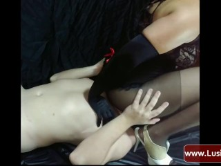 Femdom Mistress Lusinda facesitting, face fuck and pussy licking