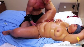 Chubby pierced FAN gets BDSM massage SQUIRTS! Choked HARD!