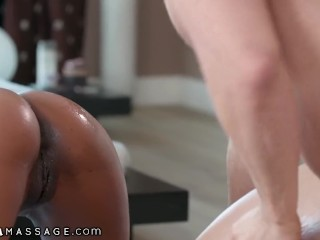NuruMassage Demi Sutra Offers Shy Guy a Rub Down & He Facials Her!