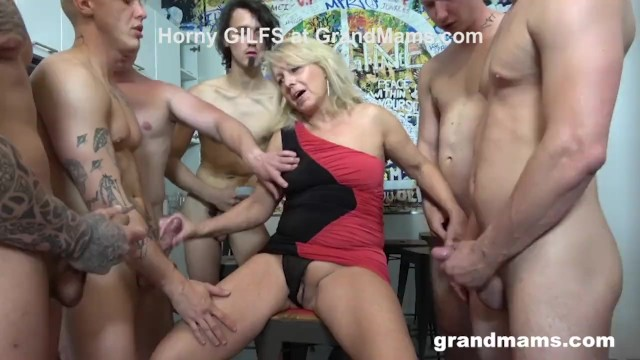 Grandmas hot pussy First ever grandma gangbang cum everywhere
