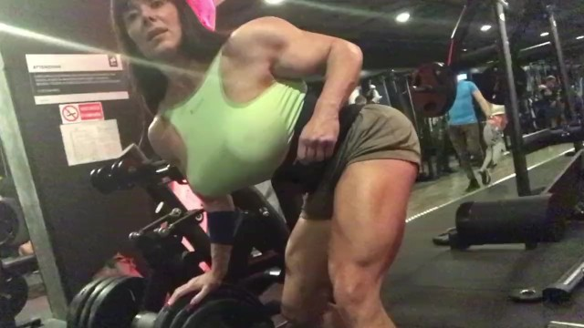 Nude women exerciseing She hulk with huge tits in gym. brutal exercise.