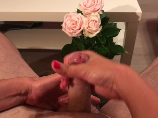 [4K] Red nails handjob from wife sloppy play with cum after orgasm teasing