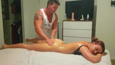 Oily massage with 8 inch dildo play tease.