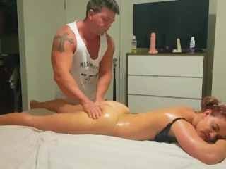Oily massage with inch dildo play tease
