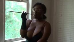Beautiful Ebony Buxxom Rose Smoking Fetish