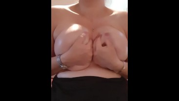 Oiled Big Tittie Massage and Pussy Fingering