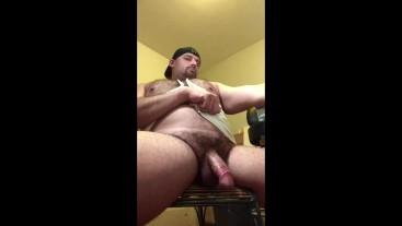 Hairy Daddy Fingering Hole, Dripping Precum, Verbal Cumshot