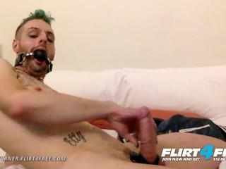 Tyson Turner on Flirt4free - Fetish Hunk w Ball Gag Strokes His Big Cock