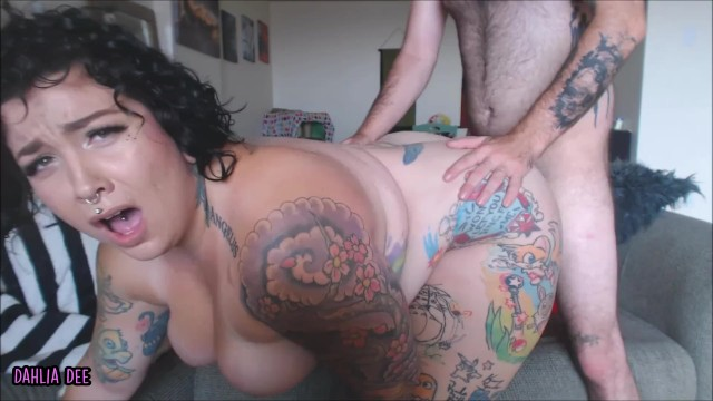 What is bbw - Bbw dahlia gets fucked hard on the couch