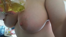 Pissing in glass two times and wash my tits and ass with my piss