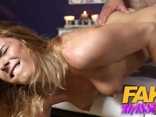 FAKEhub Super sexy natural redhead wet from massaging hockey player Chrissy Fox