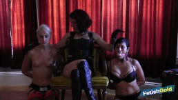 Lesbian MILF teaches two young babes how to have BDSM fun